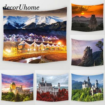DecorUhome Vintage Villa Wall Hanging Decor Sunset Scenic Plant Printed Carpets Home Decor Hanging Living Printing Wall Tapestry