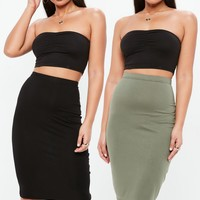 Missguided - Black And Khaki 2 Pack Pencil Skirt