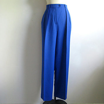 Vintage 1980s ESCADA Pants Blue Wool Gabardine Dress Trousers Slacks 44 US 12