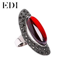 EDI 925 Sterling Silver Inlay Natural Stone Personality Rings Vintage Sterling Silver Classic Oval Gemstone Ring for Women