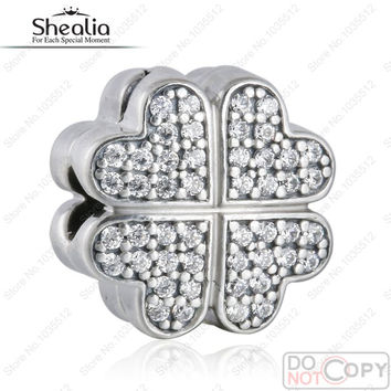 Fit Pandora Charm Bracelet Petals Of Love Clip Beads Original 925-Sterling-Silver CZ Pave Flower Stopper SHEALIA JEWELRY BD334