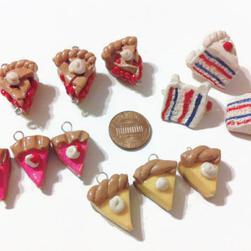 Pie and Cake Charms - 12 Pieces, Handmade charms, polymer clay charms, kawaii charms, food charms, tiny food, food miniatures, clay food,