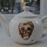 Cookie Skull Illustrated White Porcelain Teapot