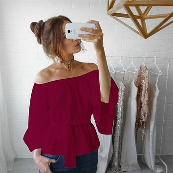 Red  Off Shoulder Chiffon Top