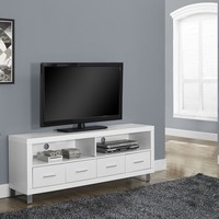 "White Hollow-Core 60""L Tv Console With 4 Drawers"