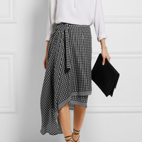 Preen by Thornton Bregazzi - Lea gingham silk-jacquard wrap skirt