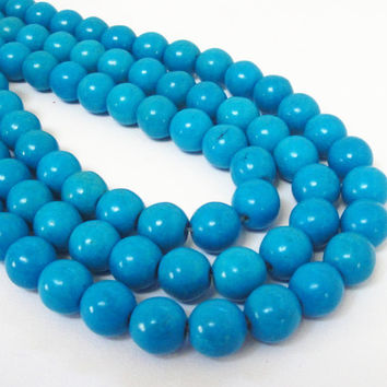"Blue Turquoise Round Beads, Cyan Gemstone Magnesite Beads, 15"" strand Round Beads for Jewelry Making 10mm"