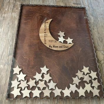 Guestbook Alternative Drop Box with Moon and Stars