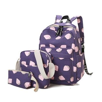Girls bookbag 2016 Women Backpack School Bags For Teenagers Girls Rucksack Backpacks 3 Set Mochila Printing Bookbag Cute Canvas 2001 AT_52_3