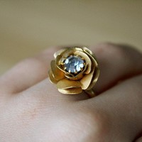 Sapphire Rose Vintage Cocktail Ring by LostAndFawned on Etsy