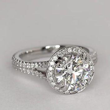 A Flawless 4.8CT Round Cut Russian Lab Diamond Halo Split Shank Ring