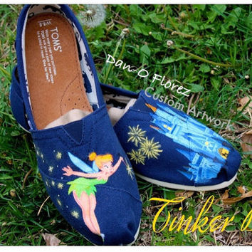 Tinker Bell from Peter Pan and Disney World Magic Kingdom Cinderella's Castle  Painted TOMS