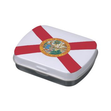 Patriotic candy tins with Flag of Florida