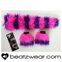 MADE TO ORDER Cheshire Cat inspired tail and wrist cuffs set rave outfit fluffies gogo festival bootcovers hula hoop