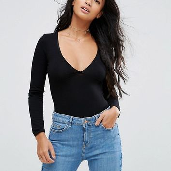 ASOS PETITE Body With Plunge Neck Long Sleeve And Thong at asos.com