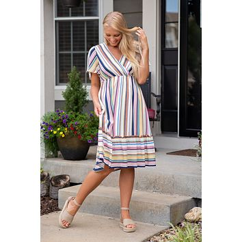 The Party Continues Striped Dress : Multi Mix