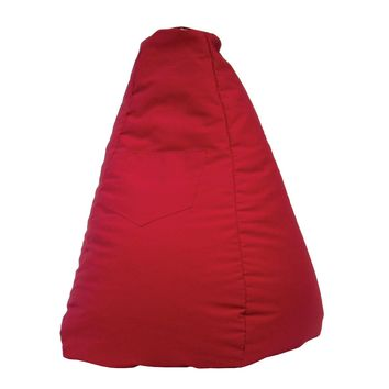 Large Tear Drop Demin Look Bean Bag with Pocket Red