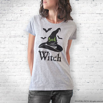 Bad witch T-shirt-Halloween T-shirt-funny Halloween tee-men tees-shirt-witch tee-witch costume-women tees-graphic tees-NATURA PICTA-NPTS097