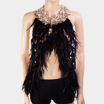 Crystal Pearl Net Chain Feather Body Chain Necklace