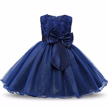Sequin Girl Baptism  Sleeveless Kid Dresses Girls Clothes Party Princess  Nina 6 7 8 year birthday Dress