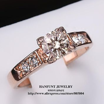 Cubic Zirconia Forever Wedding Rings for Women Rose Gold