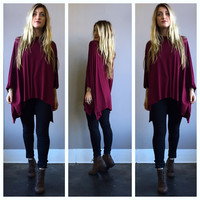 A Swing Poncho in Wine