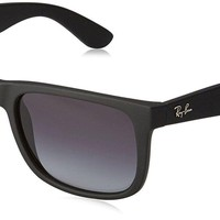 New Ray-Ban RB4165F Men's Justin Sunglasses Black / Grey Mirror Silver