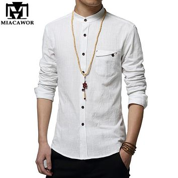 Men's Linen Stand Collar Casual Slim Fit Long-Sleeve Shirt