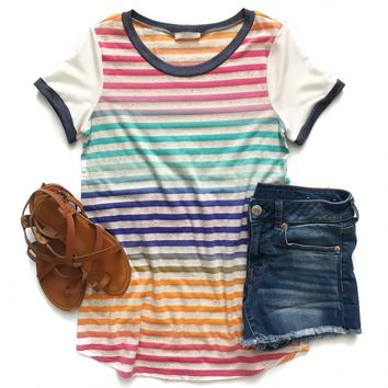 Bright Stripe Ringer Tee