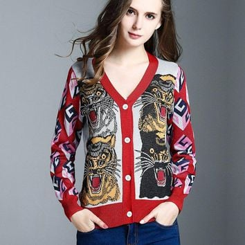 Women's Embroidery Jacquard Tiger Cardigan Sweater