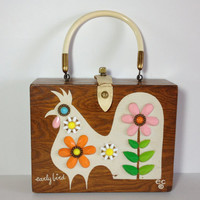 Vintage Enid Collins Box Bag, Early Bird Wooden Box Hand Bag, Collectible Wood Purse, Fun FunkyJeweled Mod Rooster, Top Handle Texas Bag