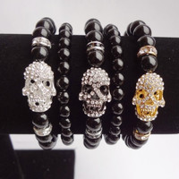 5Pc. Set Black Onyx Beaded Stretch Rhinestone Skull Bracelet
