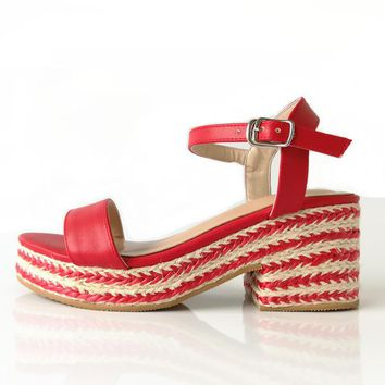Gracie Woven Wedges - Red