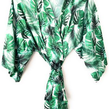 Tropical Palm Leaf Bridesmaid Robe