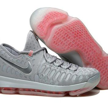 auguau Nike Men's Durant Zoom KD 9 Knit Mid-High Basketball Shoes All Grey 40-46