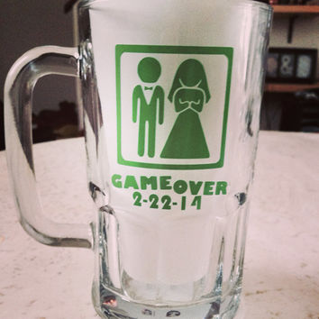 "Groom's ""Game Over"" beer mug/glass #bachelor #gameover #beermug #wedding #engaged #groom"