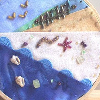 Embroidery Hoop Art Beach Tide, Mixed Media Hoop Art