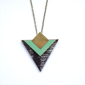 Geometric Triangle Necklace - Mint & Black Feather Patterned