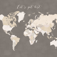 Earth tones world map Art Print by blursbyaiShop | Society6
