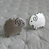 Little Sheep Earrings Studs Handmade Sterling Silver by pippoko