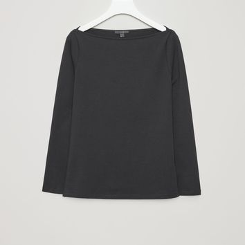Wide-neck jersey top - Black - T-shirts - COS FR