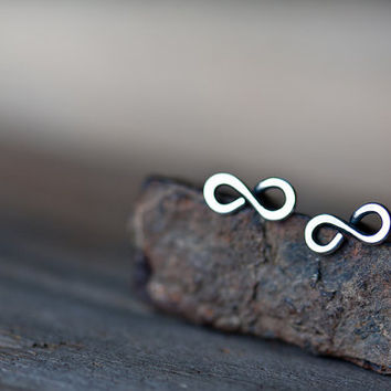 Tiny Infinity Earrings Small modern everyday 925 by CookOnStrike