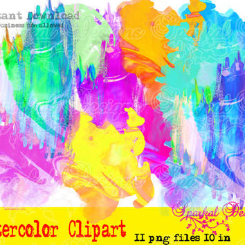 Watercolor Clipart images Watercolor Splotches Masks and Strokes Instant Download Great for Scrapbooking and Backgrounds Digital Clilpart