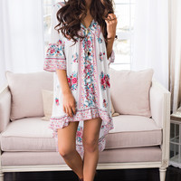 Morning In Madrid Floral Baby Doll Dress (Ivory)