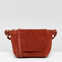 ASOS Suede Angled Flap Cross Body at asos.com