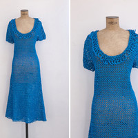 1950s Dress - Vintage 50s 60s Blue Ribbon Dress - Aitana Dress
