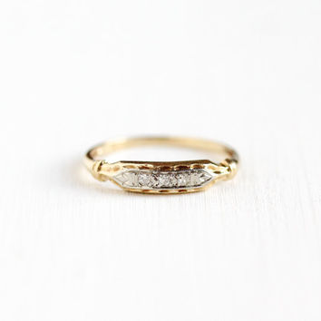 Vintage 10k Yellow & White Gold Diamond Wedding Band Ring - Art Deco 1930s 1940s Size 5 Engagement Bridal Stacking Decorative Fine Jewelry