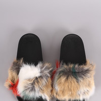 Patchwork Faux Fur Slide Sandal