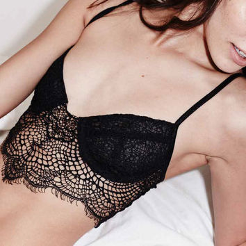 For Love and Lemons SKIVVIES Black Bat your Lashes Bra