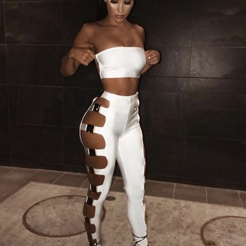 Perlina White & Black Bandage Two Piece
